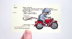 The Mouse and the Motorcycle Library Card Art - Print of my painting of Ralph and his motorcycle on library card catalog card