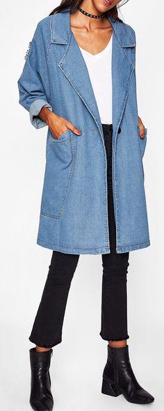 Front Patch Pockets Longline Denim Coat