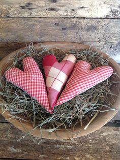 Pretty Prim Valentine Heart Trio Pillow by KokomoLanePrimitives, $4.95