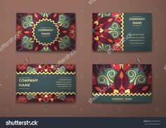 Vector Vintage Visiting Card Set. Floral Mandala Pattern And Ornaments. Oriental Design Layout. Islam, Arabic, Indian, Ottoman Motifs. Front Page And Back Page. - 378490195 : Shutterstock