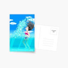 'Beach Splash' Greeting Card by konapple Postcard Design, Sell Your Art, Greeting Cards, Writing, Words, Artwork, Shop, Prints, Work Of Art
