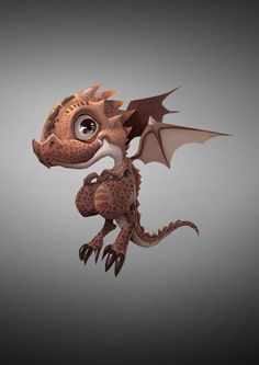 Baby Dragon by Danh Tran on ArtStation. Cute Monsters, Little Monsters, Fantasy Creatures, Mythical Creatures, Cute Drawings, Animal Drawings, Character Art, Character Design, Roi Arthur
