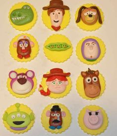Items similar to Toy Story Inspired Fondant Cupcake or Cookie Toppers- Edible- 1 Dozen on Etsy Toy Story Cupcakes, Toy Story Cookies, Kid Cupcakes, Themed Cupcakes, Cupcake Cookies, Toy Story Theme, Toy Story Birthday, Toy Story Party, 3rd Birthday