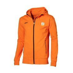 Oranje Olympische supporters trui voor Londen 2012. Deze oranje trui van het merk Asics is voorzien van de Olympische kleurstelling, officiële logo's en Nederland achter op de rug.