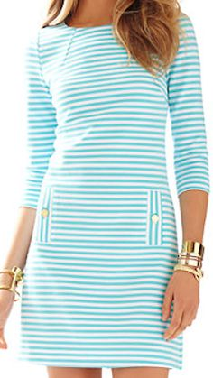 Light blue and white striped long sleeved dress