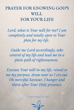 Prayer for God's will                                                                                                                                                      More