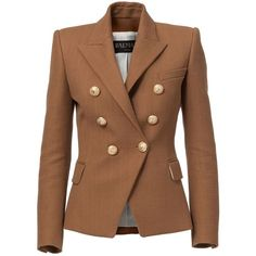 Balmain Double-Breasted Jacket in Cotton ($1,685) ❤ liked on Polyvore featuring outerwear, jackets, blazers, balmain, blazer, bronze, cotton double breasted blazer, double breasted jacket, cotton blazer and brown cotton jacket