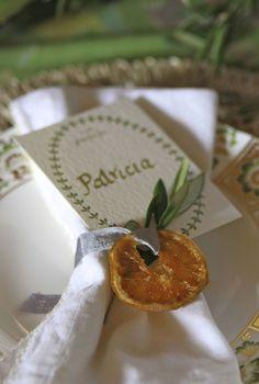 candied orange as a napkin holder