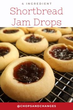 Chasing the ultimate Shortbread Jam Drop Cookies? Quick and easy with just 4 ingredients, these buttery shortbread biscuits are sure to be a crowd pleaser. Check out my recipe below! Easy Cookie Recipes, Jam Recipes, Sweet Recipes, Dessert Recipes, Cooking Recipes, Desserts, Jam Drops Recipe, Cookies, Recipes