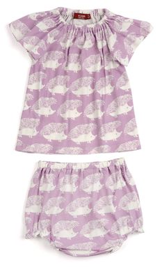 49974de0b458 MilkBarn Baby Organic Cotton Dress and Bloomer Set - Lavender Hedgehog