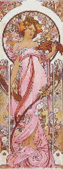 Cross Stitch Patterns - Art Nouveau - Mucha Lady in Pink Art Nouveau Cross Stitch Pattern Chart
