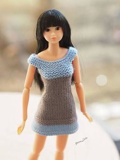 #Momoko #Doll #Clothes #summer mini #dress #Knitting  #fitting #mini