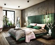 Gorgeous Art Deco Bedroom Decor - Bed Headboard - Ideas of Bed Headboard - Cozy green bedroom beautiful bedroom design channel tufted bed high headboard bed restoration hardware bed
