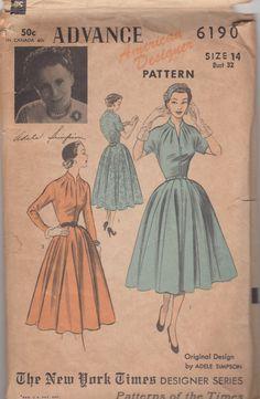 Advance 6190 1950s  Adele Simpson Misses Designer Dress Pattern Full Skirt  womens vintage sewing pattenr by mbchills
