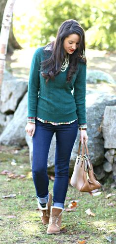 Deep green classic cable sweater over a festive plaid flannel with dark wash jeans and chestnut Quincy UGG boots. Such a cute winter outfit idea!
