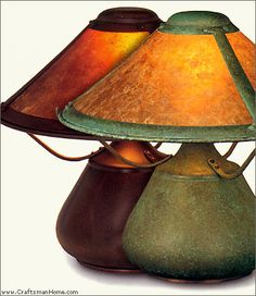 Beanpot mica lamps from the Mica Lamp Company bring soft lighting into a space. Craftsman Home Decor, Craftsman Lighting, Craftsman Style Homes, Craftsman Bungalows, Craftsman Furniture, Mission Style Homes, Jugendstil Design, Bean Pot, Arts And Crafts Furniture
