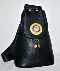 5453b6a4af3a Vintage GIANNI VERSACE Leather Pyramid Medusa Sling Bag