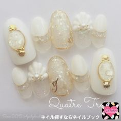 ネイル 画像 1646267 白 夏 海 ブライダル リゾート チップ ハンド ミディアム Rhinestone Nails, Bling Nails, Pretty Nail Art, Beautiful Nail Art, French Nails, Japan Nail, Wedding Nails Design, Nail Wedding, Exotic Nails