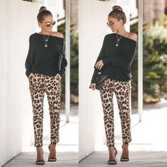 Pattern bottoms and plain tops. Or swap the other way around for print tops and plain bottoms. Leopard Leggings Outfit, Leopard Print Outfits, Leopard Print Pants, Animal Print Outfits, Printed Pants Outfits, Trouser Outfits, Stylish Outfits, Cute Outfits, Fashion Outfits