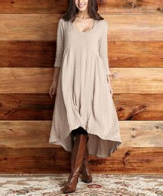 Look at this #zulilyfind! Mocha Cable-Knit Hooded Hi-Low Dress - Women #zulilyfinds