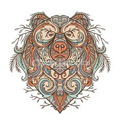 Urso com ornamento floral abstrato. Tatuagem arte no estilo boho. Retrô…