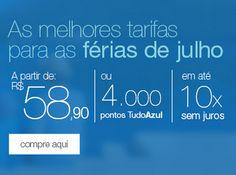 TudoAzul: 4.000 pontos o trecho nacional para viajar em julho, agosto e setembro