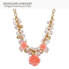 Crystal Simulated Pearl Gold Plated Flower Necklaces For Women Jewelry Birthday Gifts  New Brand Fashion WST