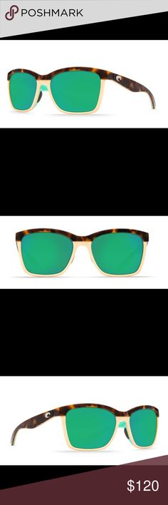 ANAA COSTA Polarized women's sunglasses Shiny retro tort. Green lenses. Polarized glasses. Only worn for one summer. In REALLY good shape. The whole sunglasses is retro tort. There are is no cream color on the actual glasses being sold. Costa Accessories Sunglasses