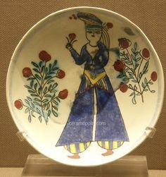Kutahya Plate Woman Figure 18th – Benaki Islamic Museum