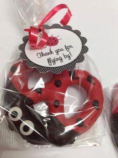 Ladybug Chocolate Covered Pretzel Favor with Favor Tag  - Ladybug Baby Shower - First Birthday Ladybug - Dessert Table - Ladybug Favors by ChocolateExpress on Etsy https://www.etsy.com/listing/196784555/ladybug-chocolate-covered-pretzel-favor