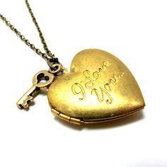 Valentine Locket Necklace  I Love You
