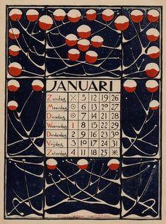 Calendrier de l'année 1886 par Theodoor Willem Nieuwenhuis (Dutch, 1866-1951). #calendrier #calendar #willem