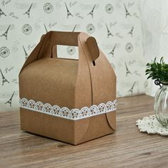 rustic wedding favor box cheap with lace tapes EWFB106