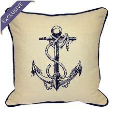 Nautical Anchor Throw Pillow <3
