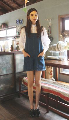 thinking of making a similar shaped one. loving the thick straps! - Street Fashion, Casual Style, Latest Fashion Trends - Street Style and Casual Fashion Trends Korea Fashion, Asian Fashion, Look Fashion, Girl Fashion, Dungaree Dress, Looks Street Style, Zooey Deschanel, Looks Vintage, Lookbook