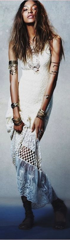 Long maxi boho chic dress for a hippie edge with tribal inspired arm bands and stacking bangles. »»»FOLLOW«««  https://www.pinterest.com/happygolicky/the-best-boho-chic-fashion-bohemian-jewelry-gypsy-/ NOW for the BEST Bohemian fashion trends.