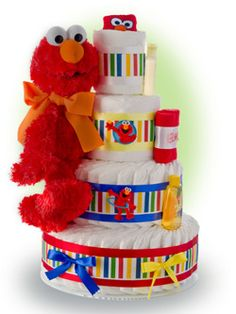 This fantastic 4 tier Custom Luxury Diaper cake is a Big Hit at the Baby Shower! It thrills the mom to be with medium plush Elmo doll, 65 disposable diapers, Baby Shower Diapers, Baby Shower Cakes, Baby Shower Parties, Baby Shower Gifts, Baby Showers, Shower Baby, Diaper Cake Boy, Nappy Cakes, Cake Baby