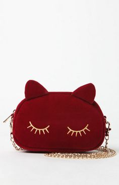 Kitty Cat Velvet Crossbody Bag