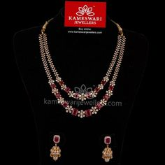 Traditional gold necklaces for women from the house of Kameswari. Shop for antique gold necklace, exquisite diamond necklace and more! Diamond Necklace Set, Diamond Jewelry, Diamond Choker, Ruby Necklace, Stone Necklace, Gold Earrings, Gold Jewelry Simple, Trendy Jewelry, Antara