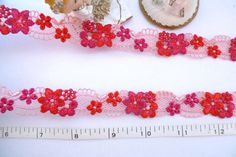 Embroidered trim red and pink flowers venise trim by raincrazy133, $6.99