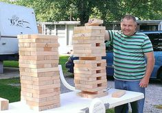 My husband made this GIANT JENGA yard game. For kids and adults to play. Lots of fun at family parties or get togethers.