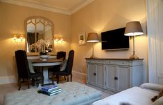 More soft greens in this property, dining table for 4 Holiday Accommodation, Luxurious Bedrooms, Corner Desk, Catering, Dining Table, Luxury, Furniture, Home Decor, Luxury Bedrooms