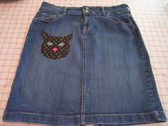 Cat Applique Embroidered Old Navy Denim Embellished Jean Skirt Misses Size 10 by GoodTasteArt on Etsy