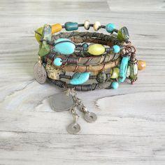Silk Road Gypsy Bangle Stack Baghlan II 5 Bracelet set by GypsyIntent on Etsy