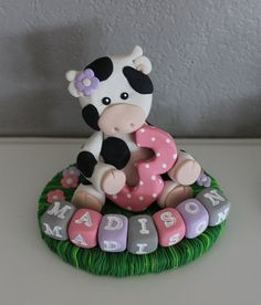 Custom Cow Cake Topper for Birthday or Baby Shower by carlyace