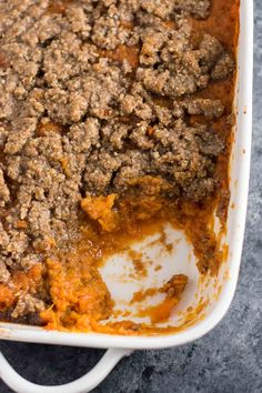 This sweet potato casserole with pecan crumble is the BEST side for your Thanksgiving table! Melt in your mouth buttery sweet potatoes are topped with a salty sweet gluten free pecan crumble. You will be fighting for seconds! Healthy Side Recipes, Side Dish Recipes, Side Dishes, Best Sweet Potato Casserole, Thanksgiving Recipes, Thanksgiving Table, Best Casseroles, Crumble Topping, Sweet And Salty