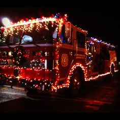 Christmas Lights Firetruck | The Town Decorated The Fire Truck With  Christmas Lights So Festive