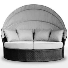 Buy Luxo Avoca PE Wicker Outdoor Day Bed - Black with Light Grey Cushions Online Australia