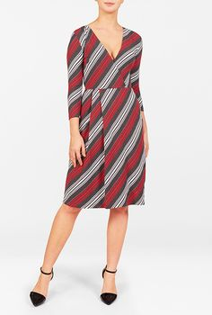 I <3 this Stripe cotton knit surplice dress from eShakti