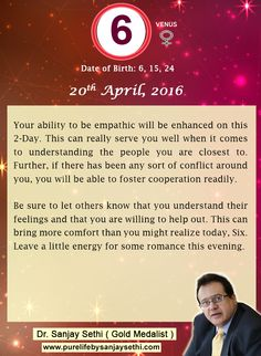 #Numerology‬ predictions for 20th April'16 by Dr.Sanjay Sethi-Gold Medalist and World's No.1 #AstroNumerologist.